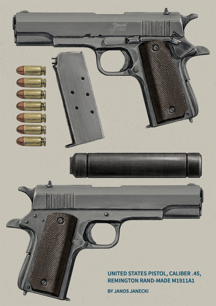 Colt 1911 drawing by Janos Janecki