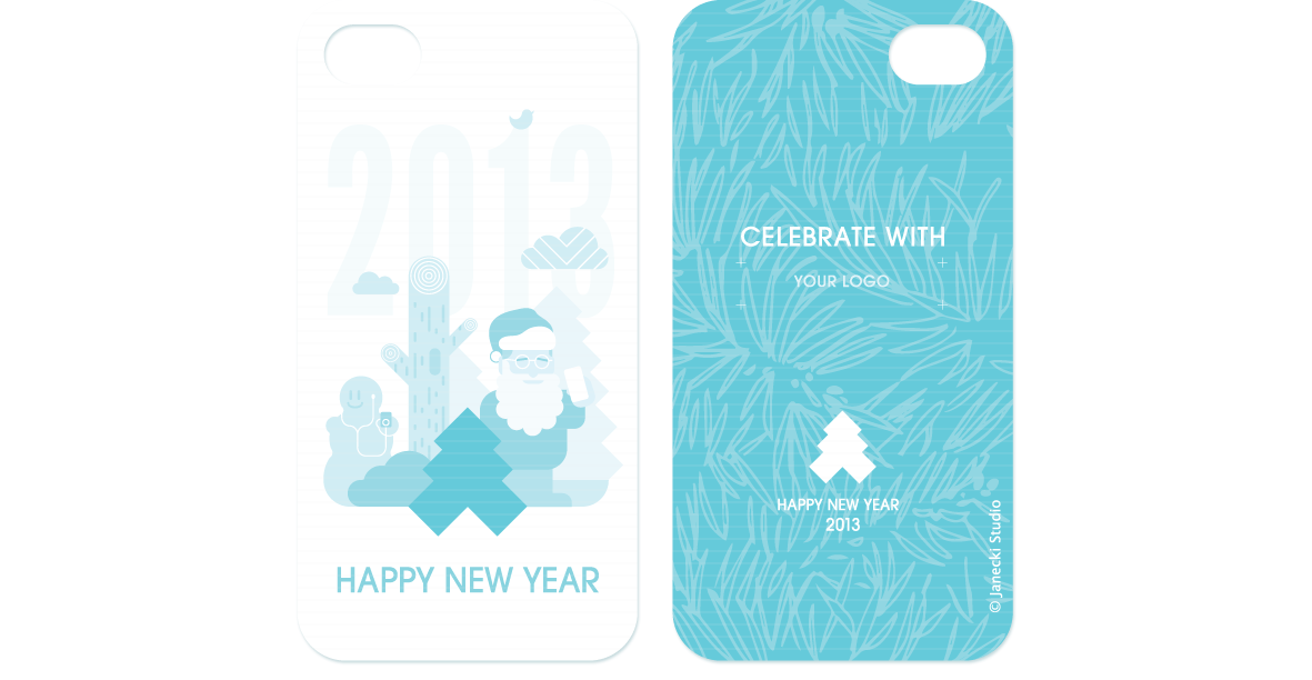 New Year phone case shaped card